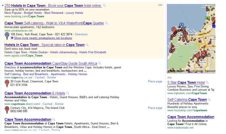 Google Search Engine Results including organic, sponsored and map listings