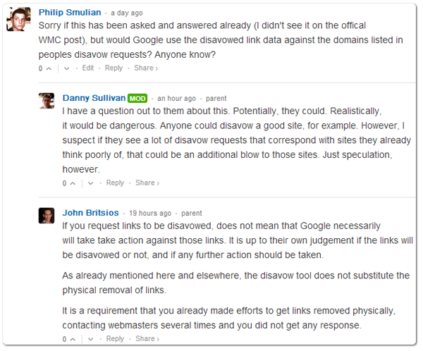 Phil's comment on Google Link Disavowing